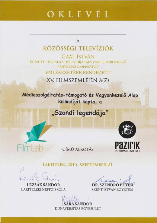 MEDIA SERVICE-SUPPORTER AND TRUSTEE FOUNDATION SPECIAL PRIZE