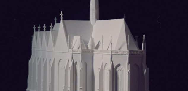 Theoretical reconstruction maquette of the Virgin Mary church in Óbuda