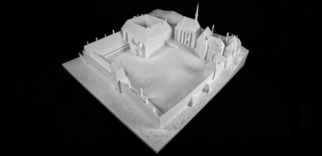 Visegrád Royal Palace in the 14th century – theoretical reconstruction maquett